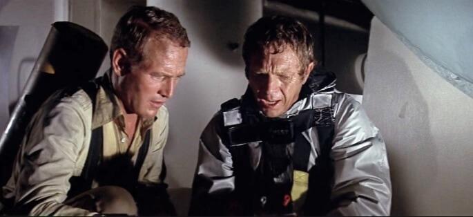 映画『タワーリング・インフェルノ』で共演したスティーブ・マックィーンとポール・ニューマン